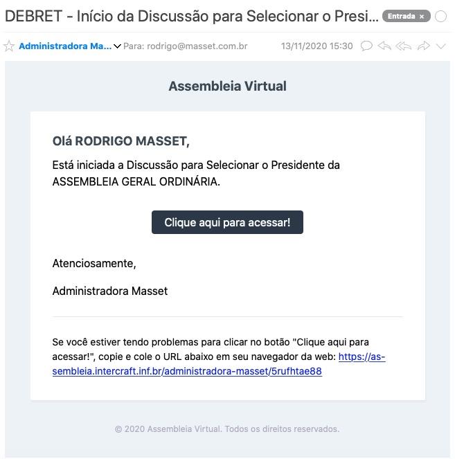E-Mail do Aviso do Início das Discussões para Escolher o Presidente da Assembleia