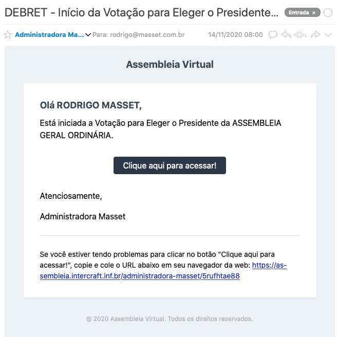 E-Mail do Aviso do Início da Votação para Escolher o Presidente da Assembleia