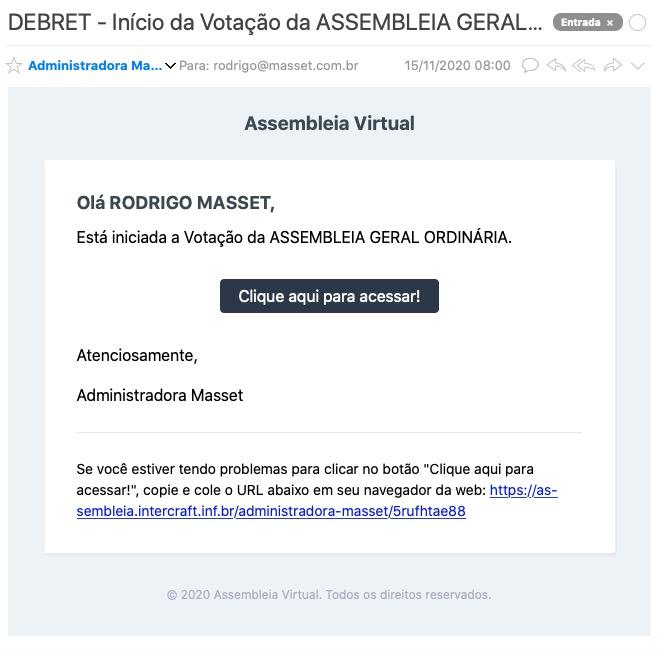 E-Mail de aviso do início da votaçao geral