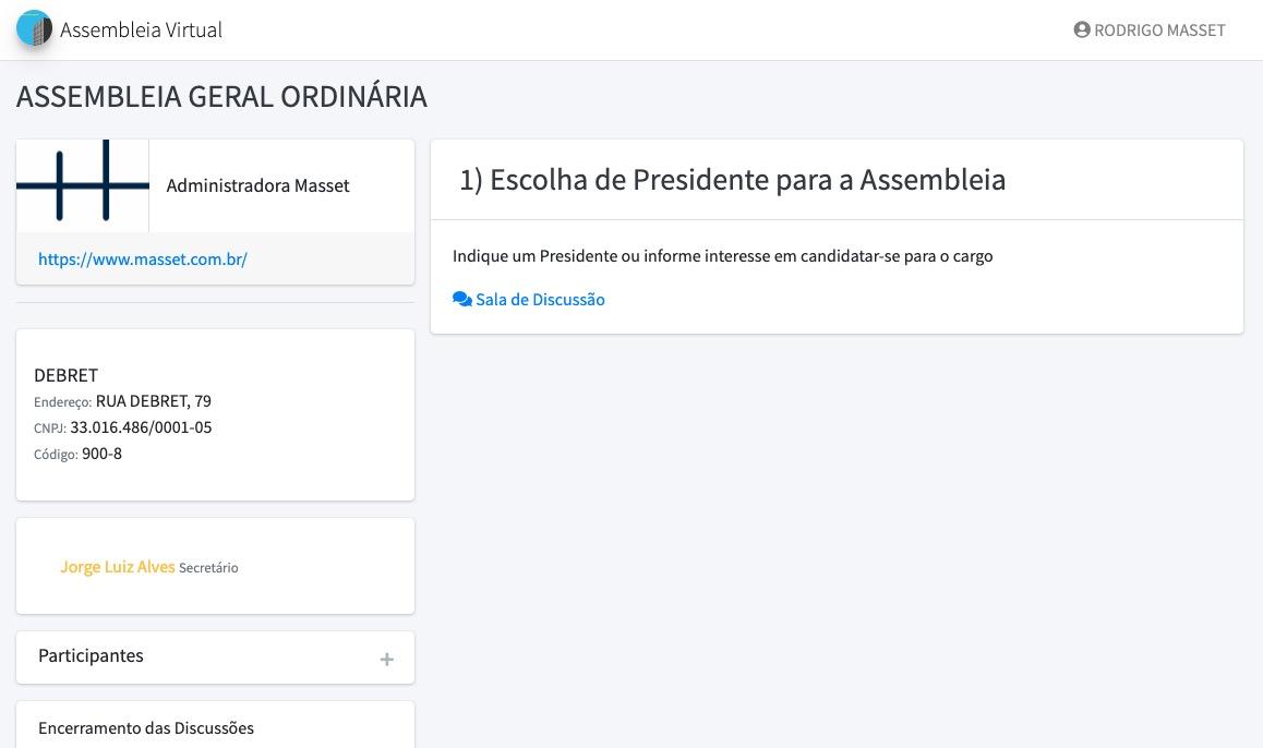 Tela de Item de Pauta de Escolha para Presidente