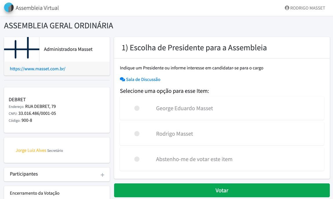 Tela de votação para Presidente da Assembleia